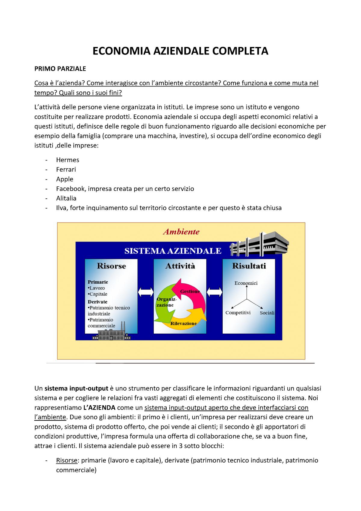 Economia Aziendale Completa per esame IULM StuDocu