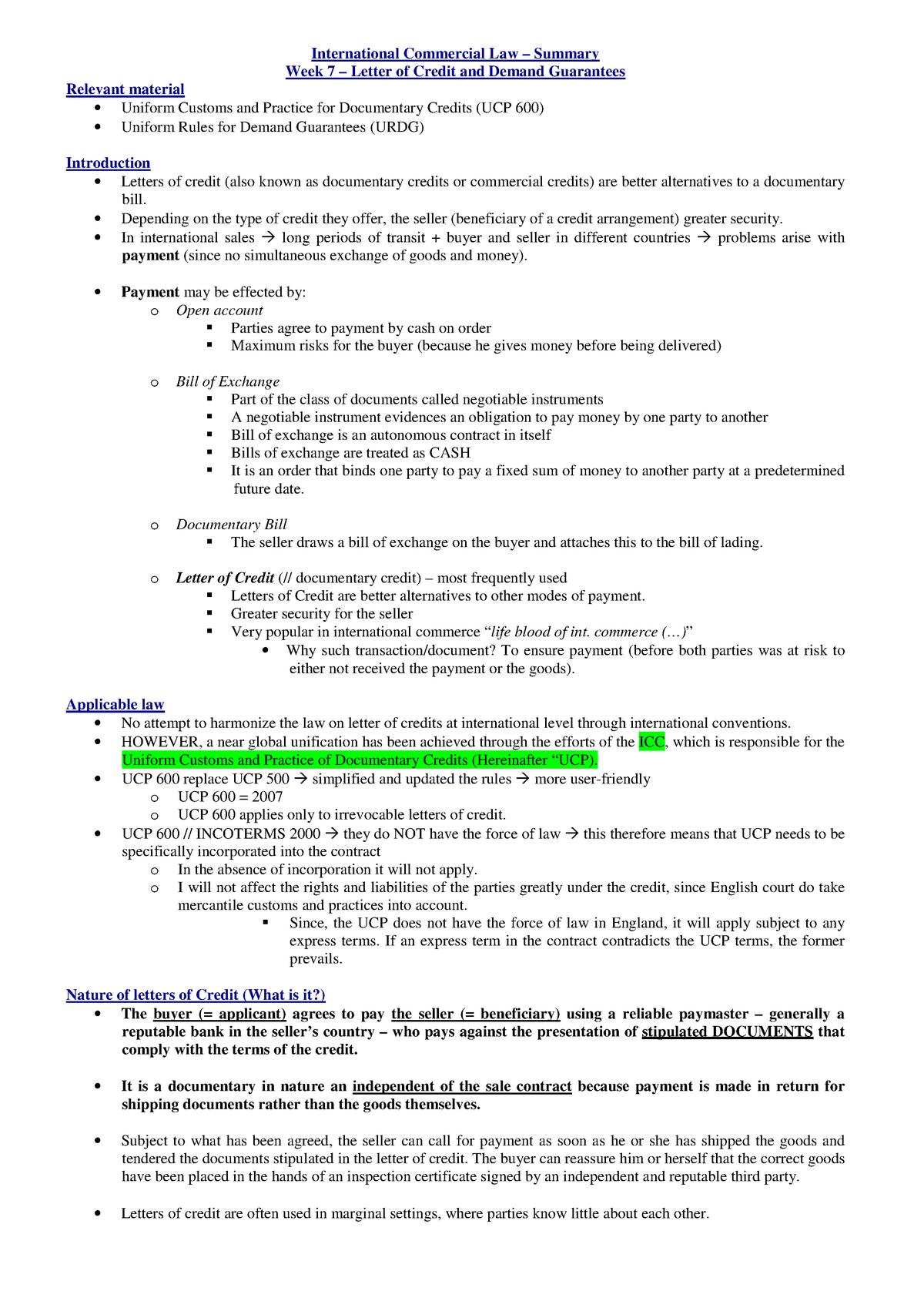 Summary International commercial law: Week 7 - PRI4002