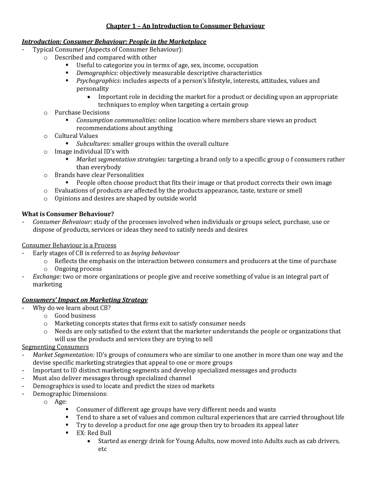 Lecture notes - Consumer Behaviour Chapter 1-5 - Mktg 406 ...