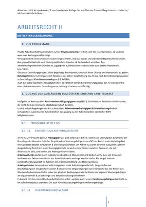 Arbeitsrecht .2 Zusammenfassung - Arbeits- und Sozialrecht