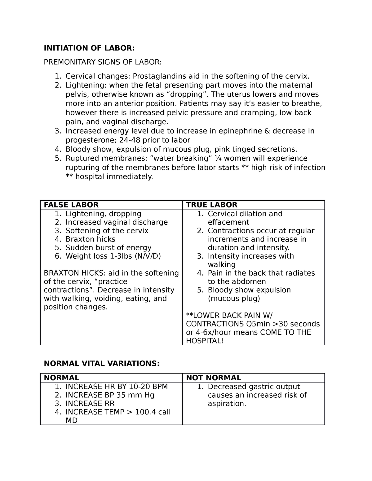Initiation OF Labor - NURSU 454 Medical Surgical Nursing I