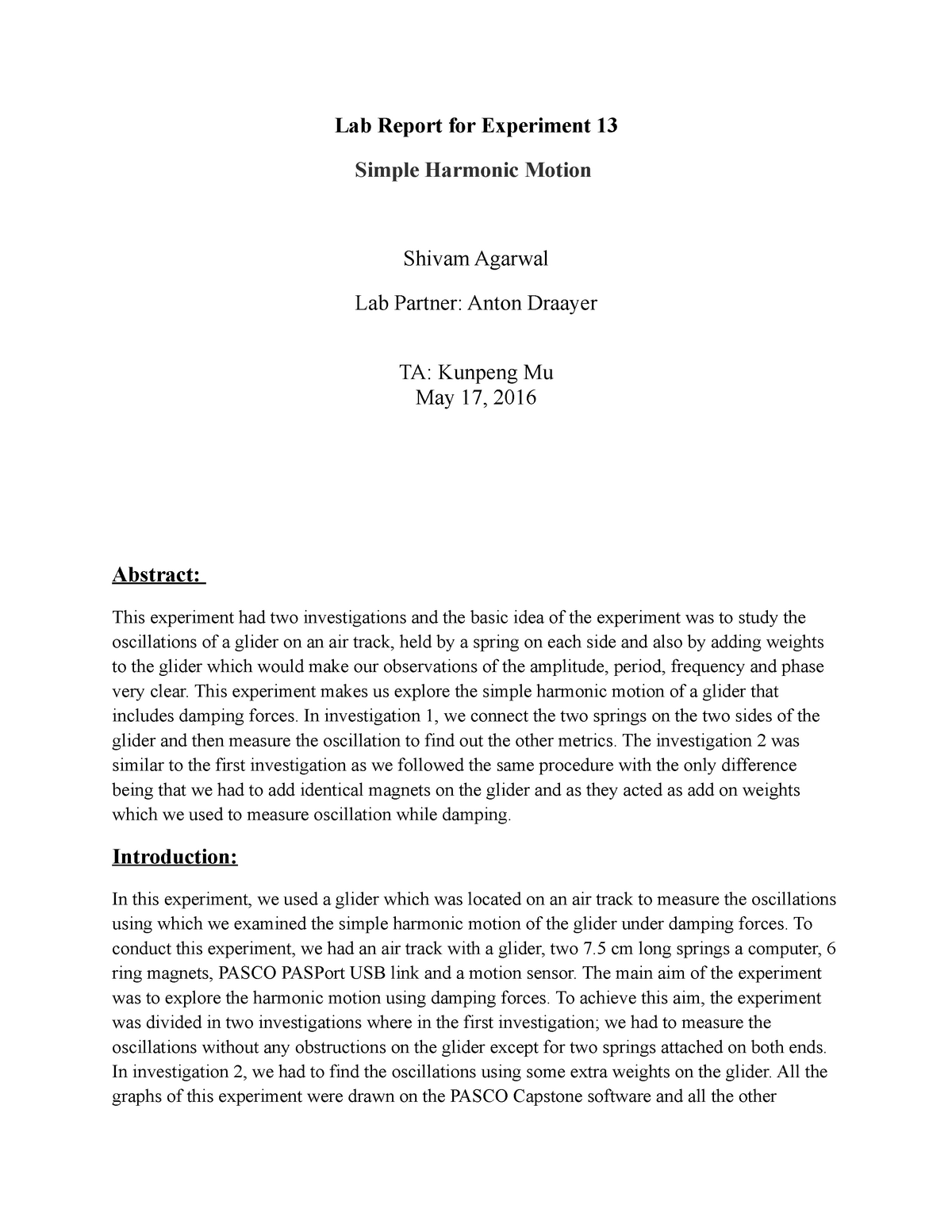 Lab 1 - This is a Lab report for a physics experiment on