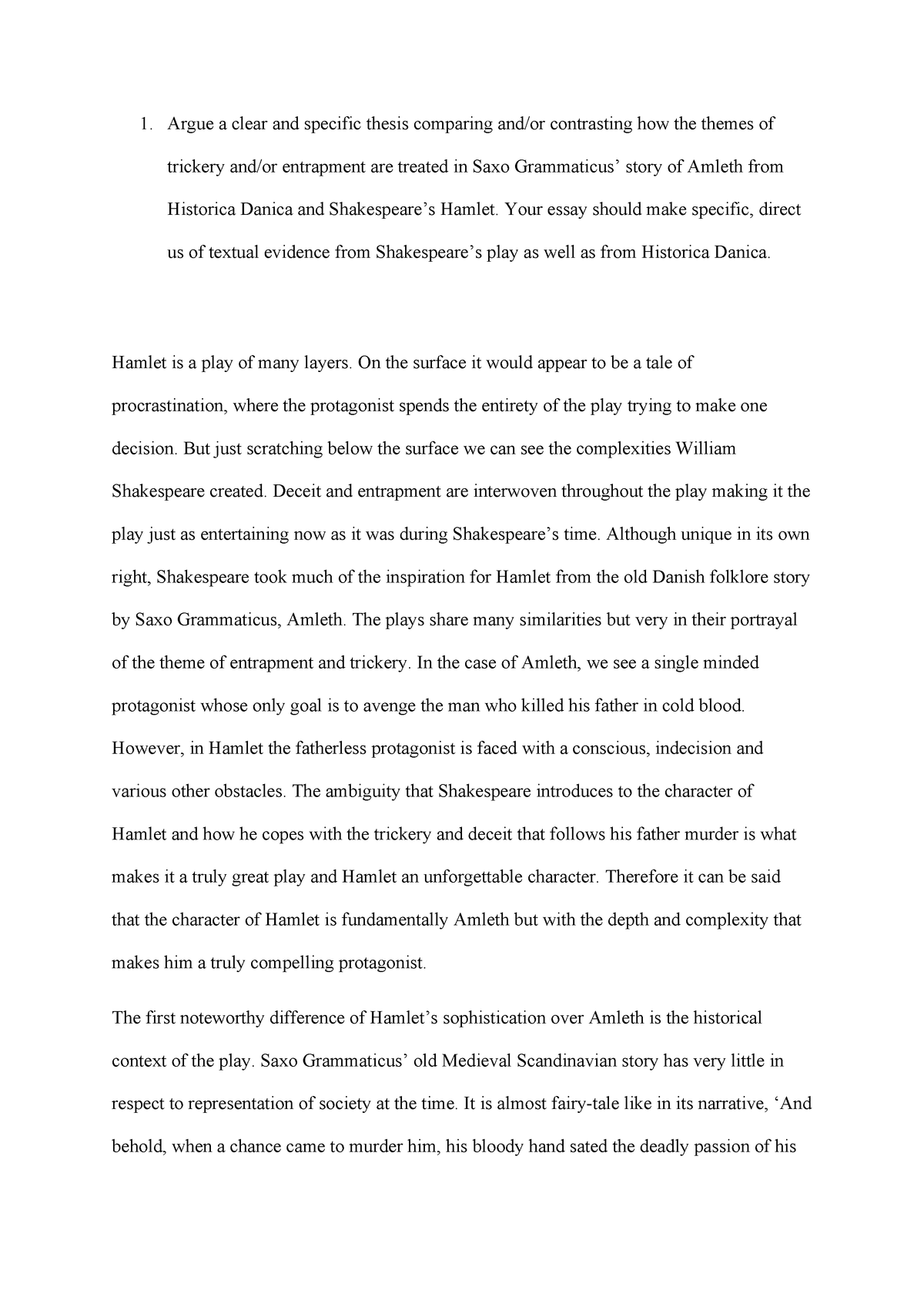 Essays On Different Topics In English  High School Essay Sample also Examples Of Thesis Statements For Narrative Essays Trickery And Entrapment In Hamlet  Second Year English  English Essay Topics For College Students
