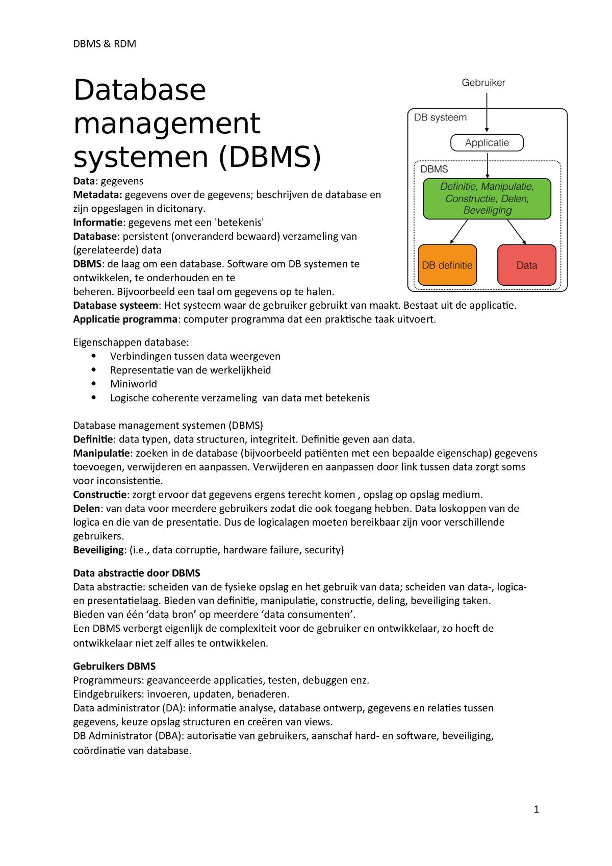 Samenvatting Dbms Rdm 4502bm211y Studeersnelnl