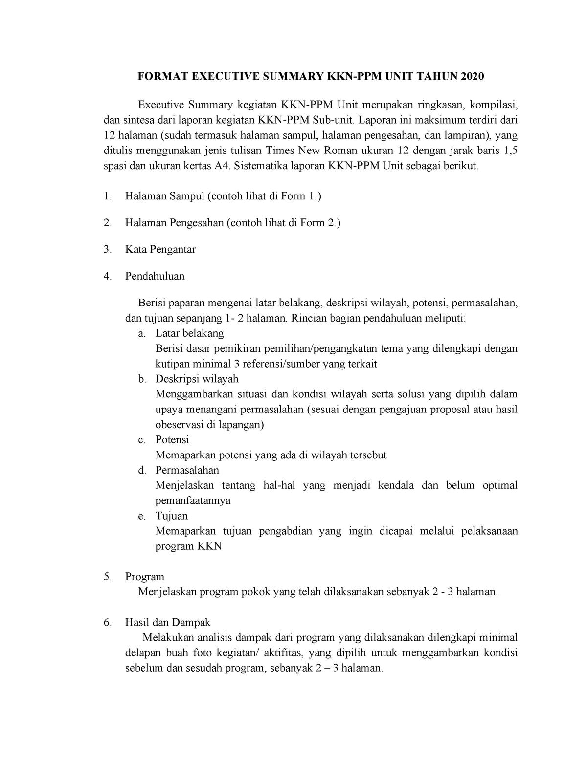 Format Executive Summary Unit Kkn Studocu