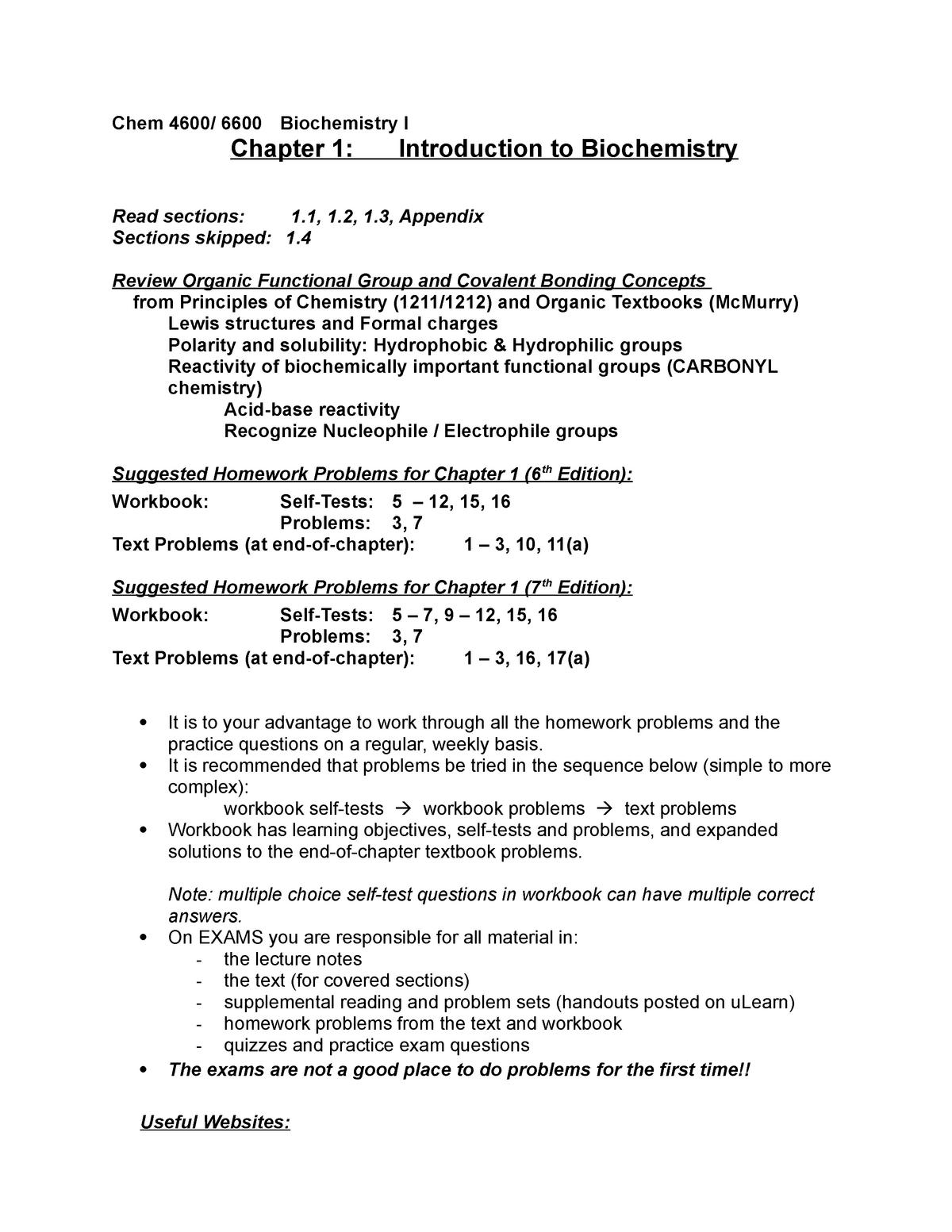 Chap 1 Suggested Problems - CHEM 4600: Biochemistry I - StuDocu