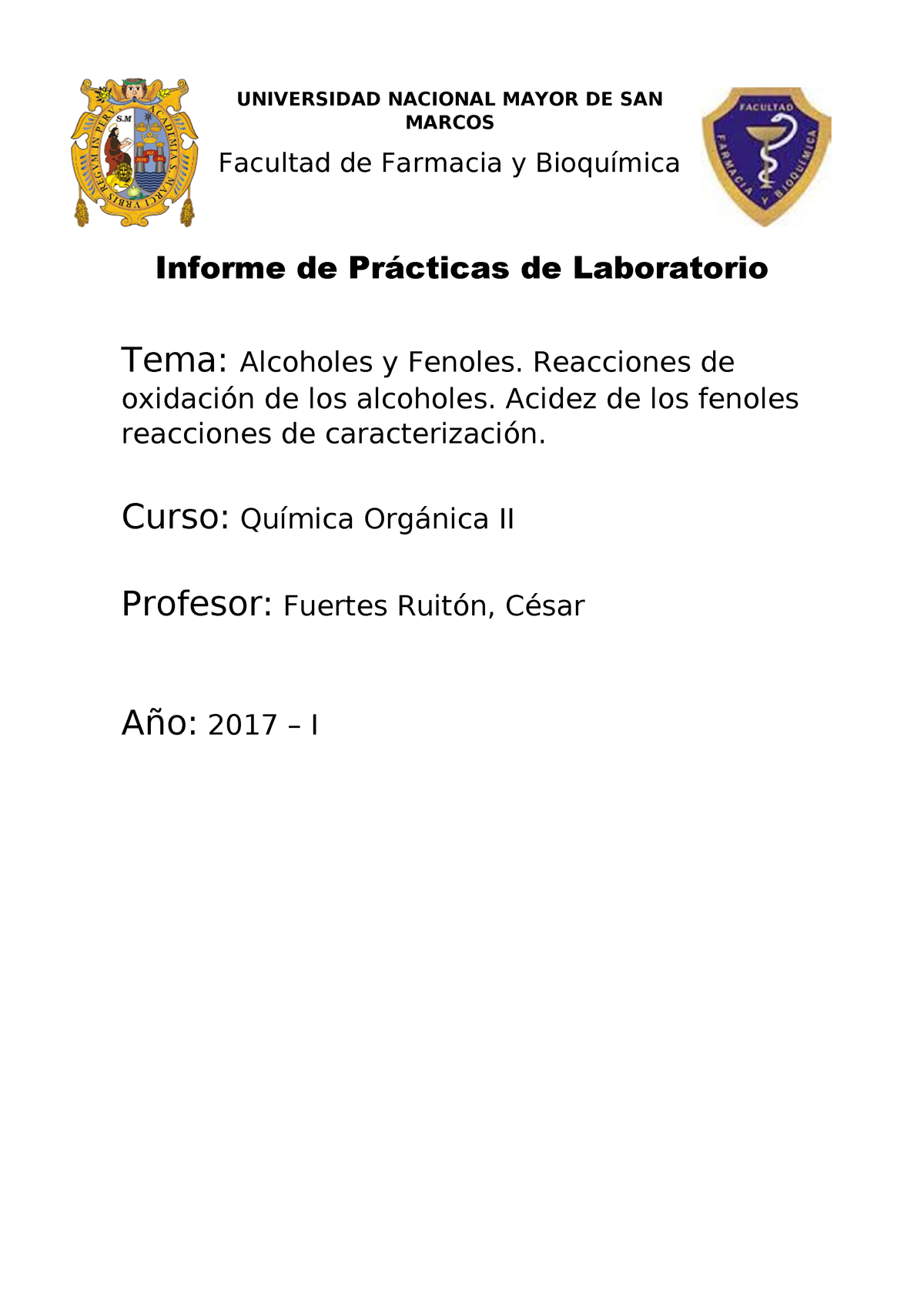 Informe 6 Quimica Organica B01323 Química Orgánica Studocu