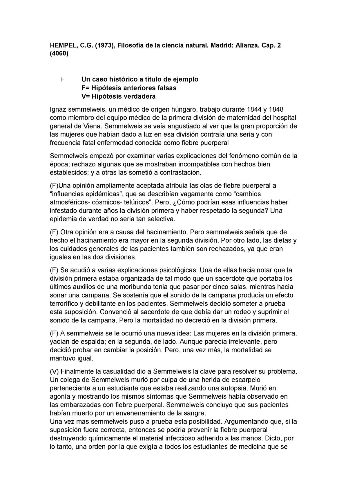 Hempel - Filosofía de las Ciencias Naturales  Cap 2 Com