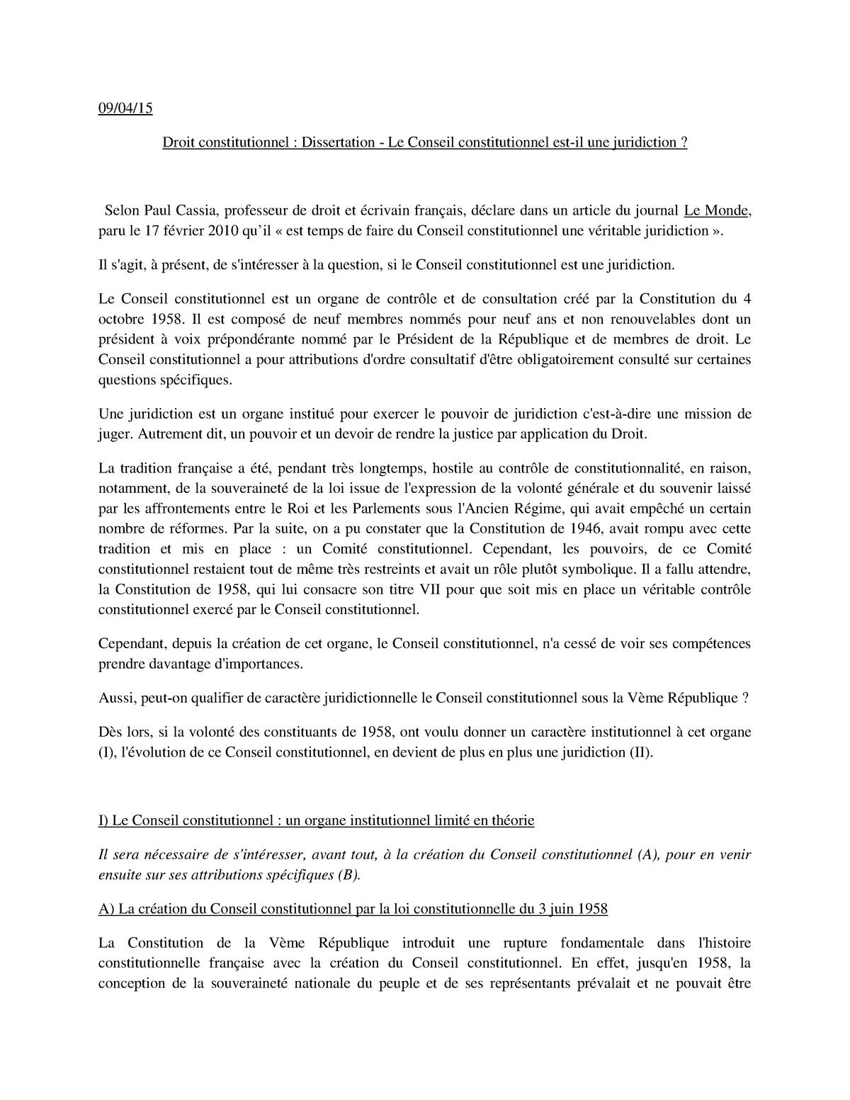 Dissertation De Droit Constitutionnel