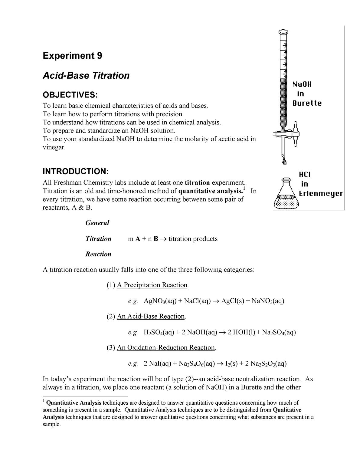 Lecture Notes 9 + Experiment 9 : ACID-BASE TITRATION - CHEM 121L