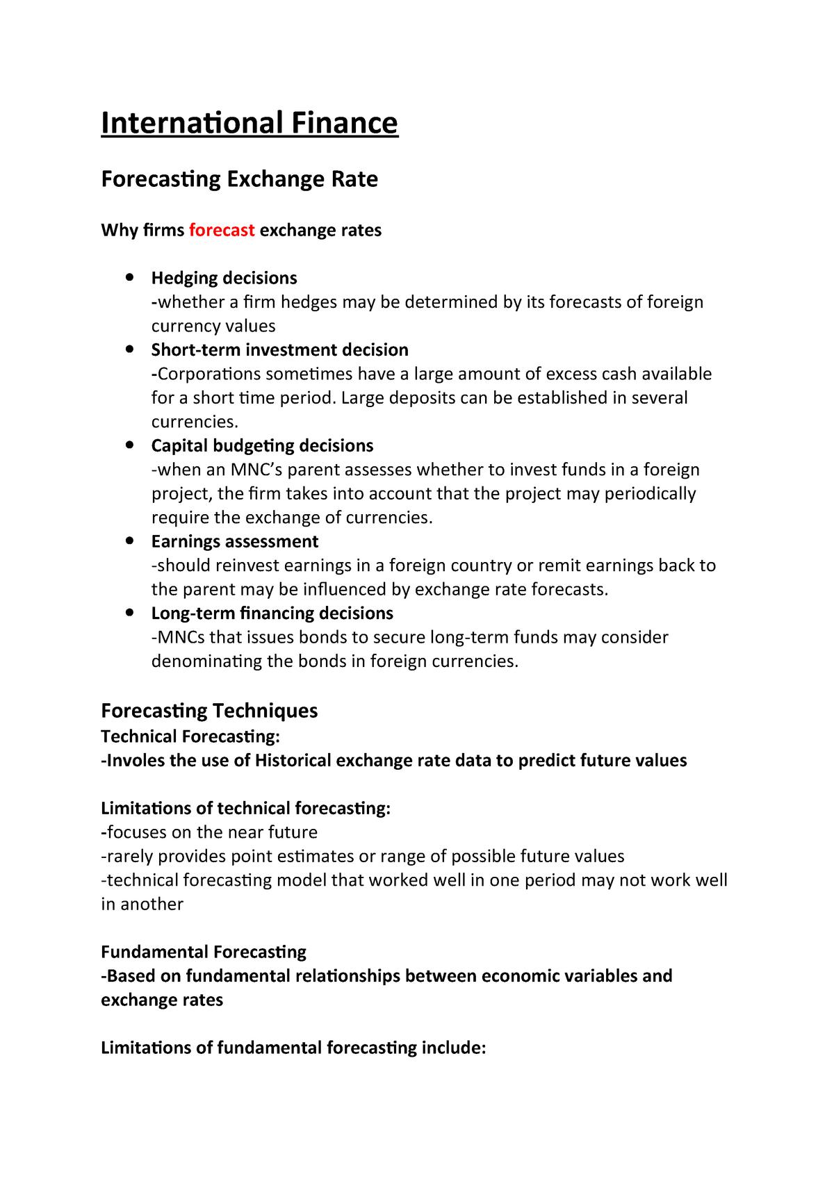 International Finance week 7 notes - BEA309: International