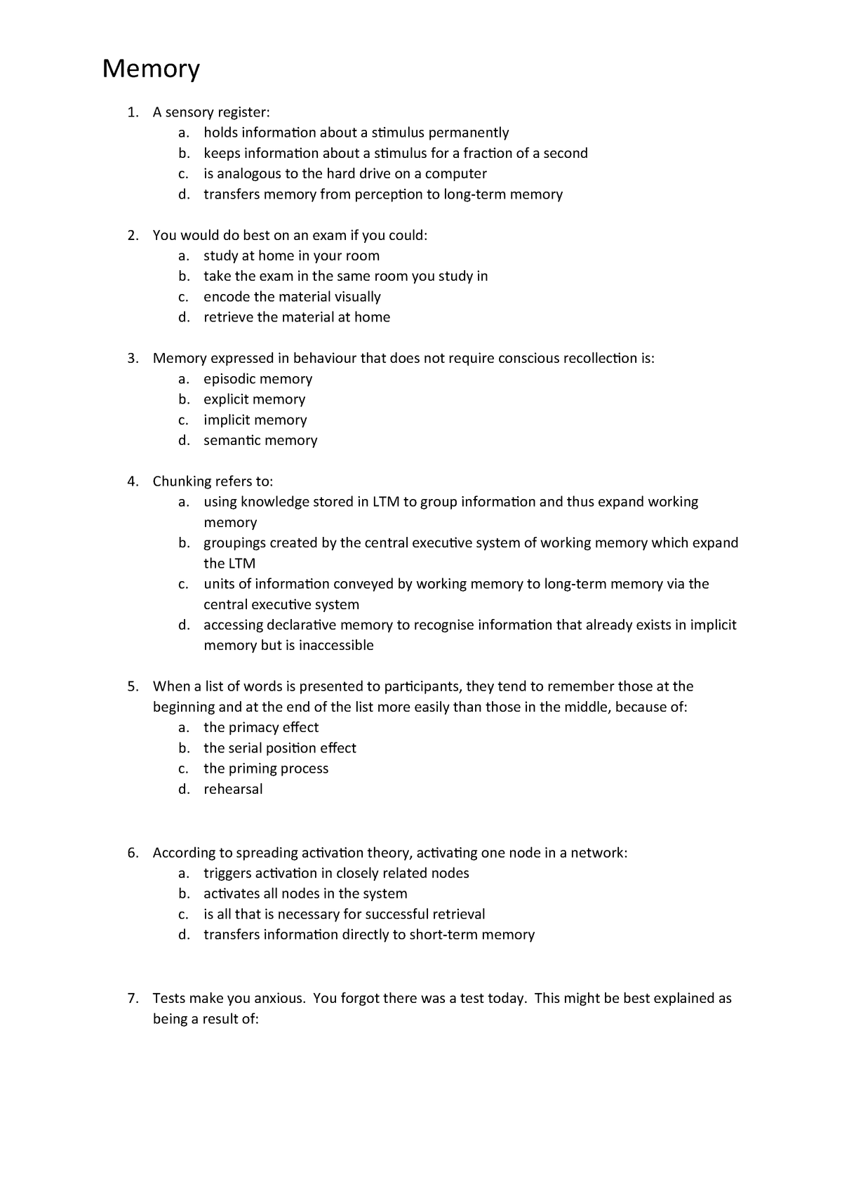Multiple choice questions: Memory - psy100003: psychology 101 - StuDocu