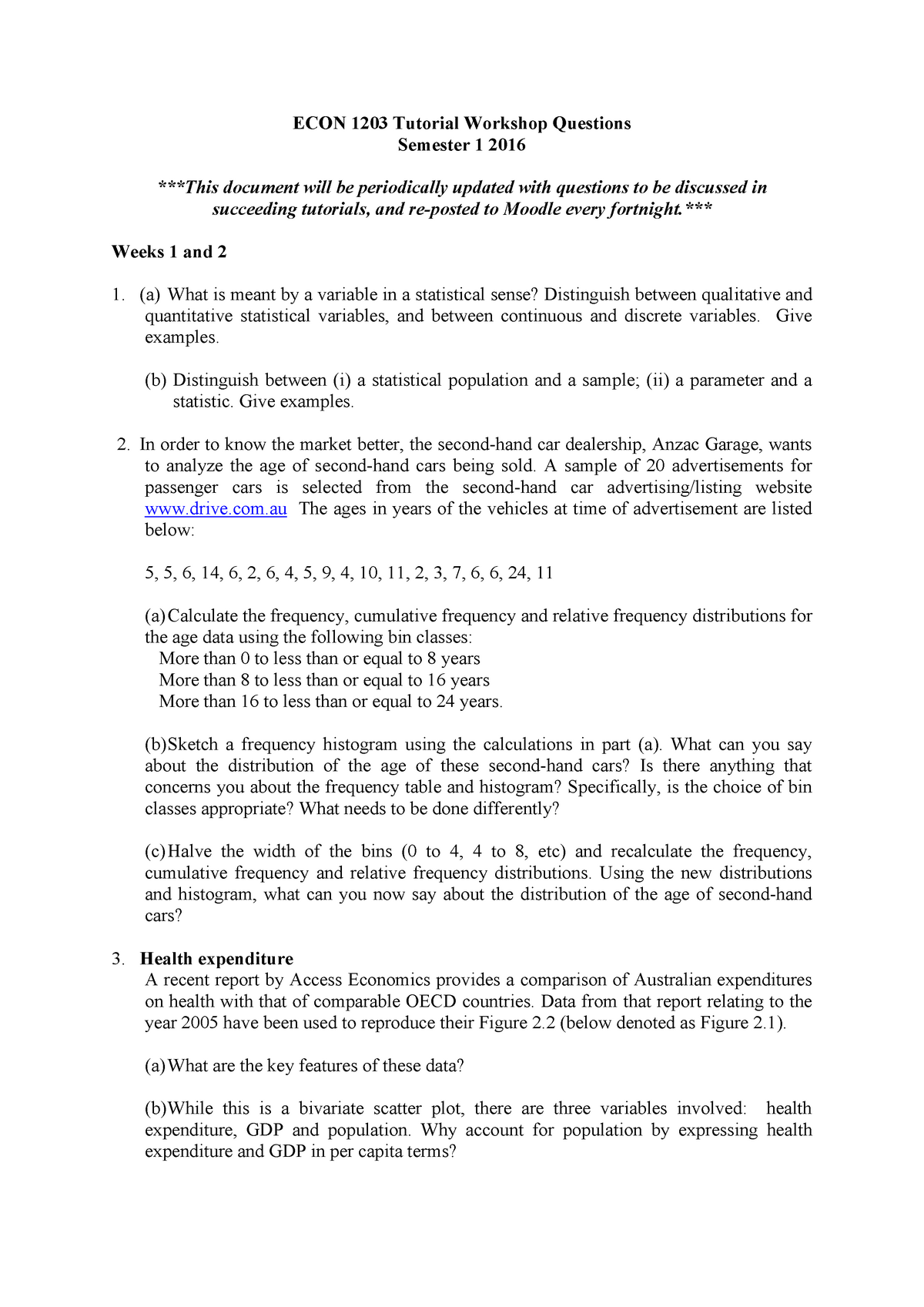 Tutorial Workshop Questions s1 2016 - ECON1203: Business and