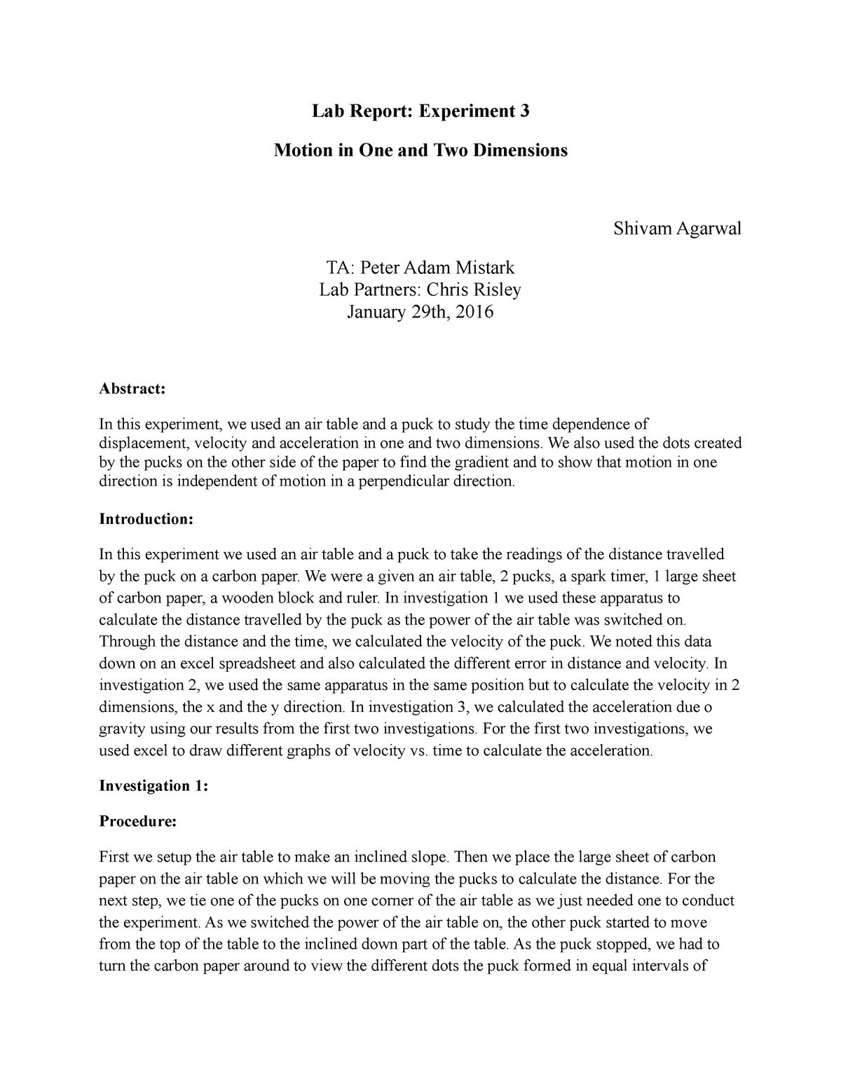Motion in One and Two Dimensions - Lab For Phys 1151 - NU