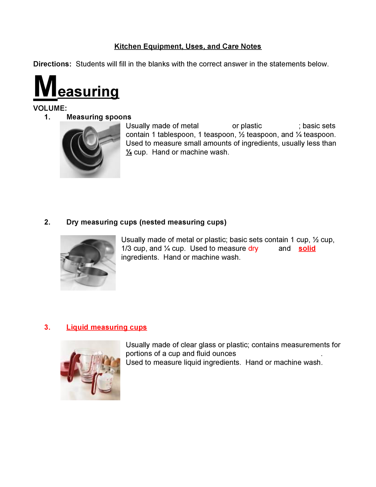 2 Fn41 2 04 Kitchen Equipment Uses And Care Notes Studocu