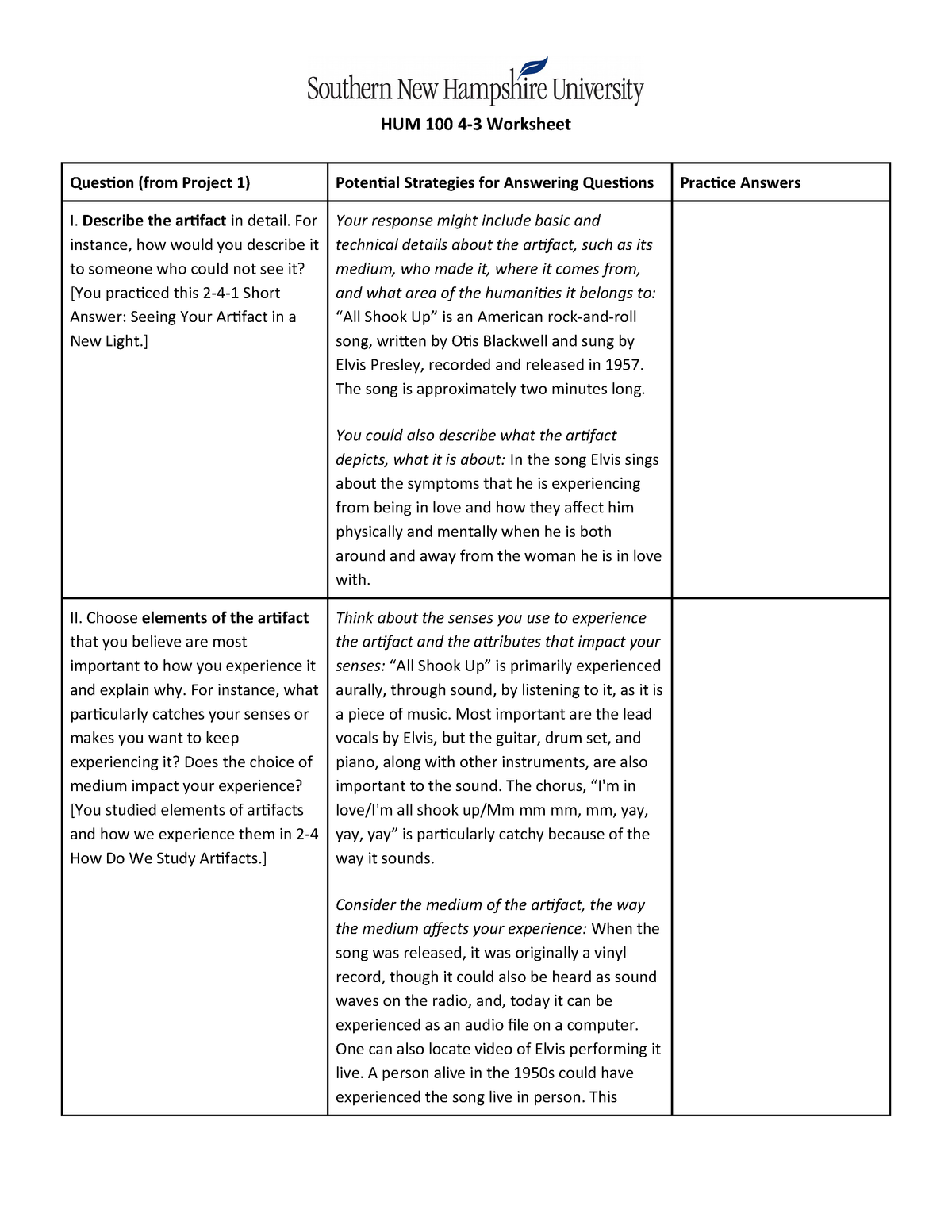 HUM 100 4-3 Worksheet - HUM100: Perspectives in the