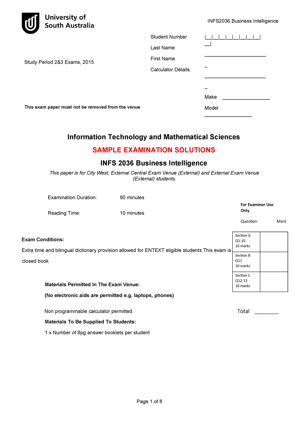 Sample/practice exam 2015, questions and answers - Business