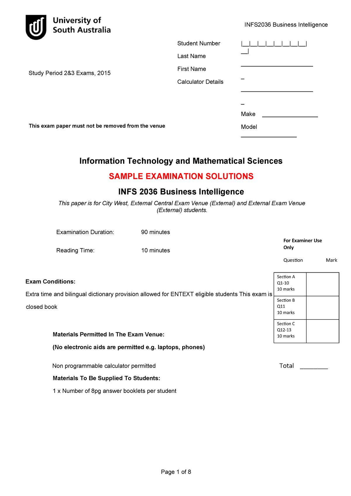 Exam 2015 - INFS 2036: Business Intelligence - StuDocu