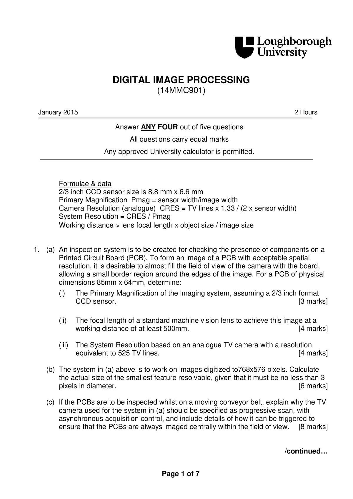Examen 2015 - 17MMC901: Digital Image Processing - StuDocu