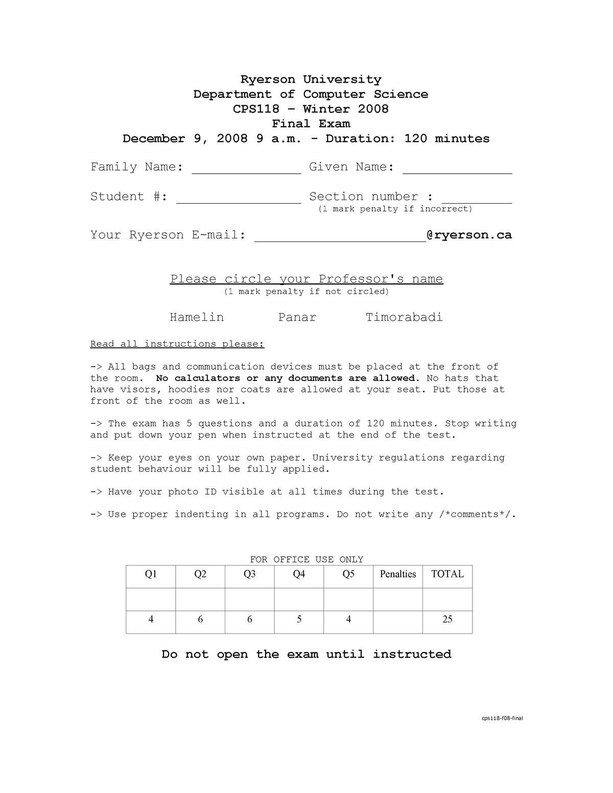 Exam 9 December 2008, questions - - Ryerson - StuDocu