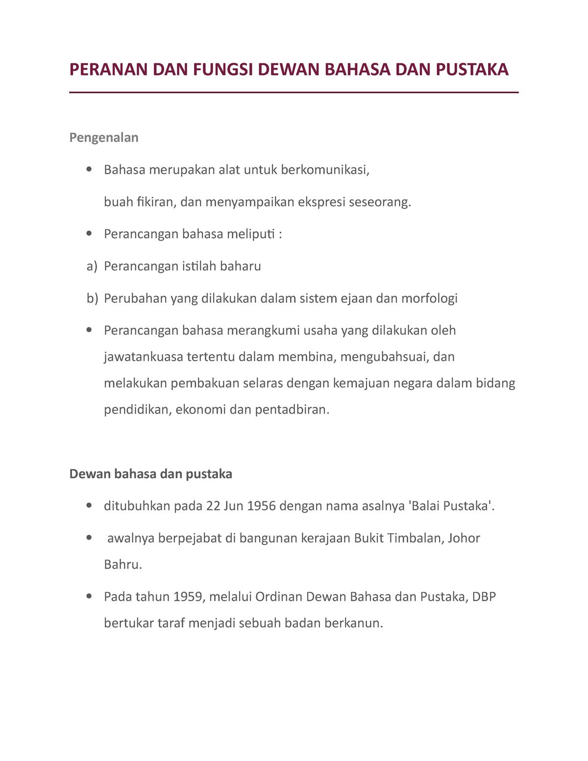 Peranan Dan Fungsi Dewan Bahasa Dan Pustaka Sblm1053 Studocu