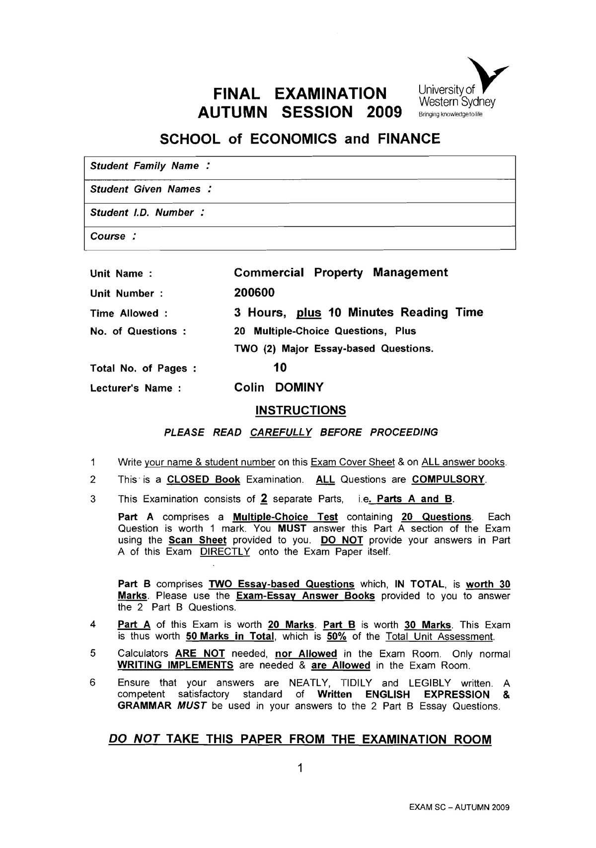 Exam 2009 - 200600: Commercial Property Management - StuDocu