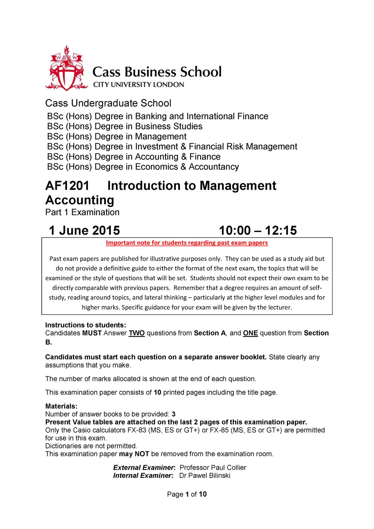 Exam 2015 - AF1201: Introductory Management Accounting - StuDocu