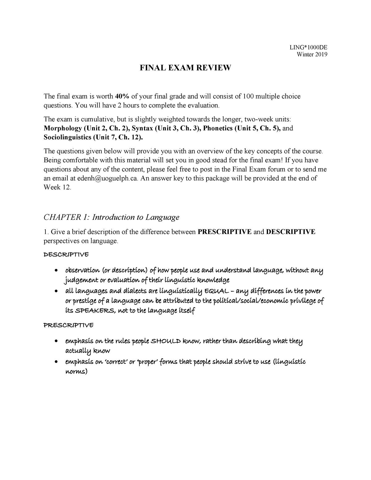 LING 1000DE Final Exam Review Package - Answer Key - StuDocu