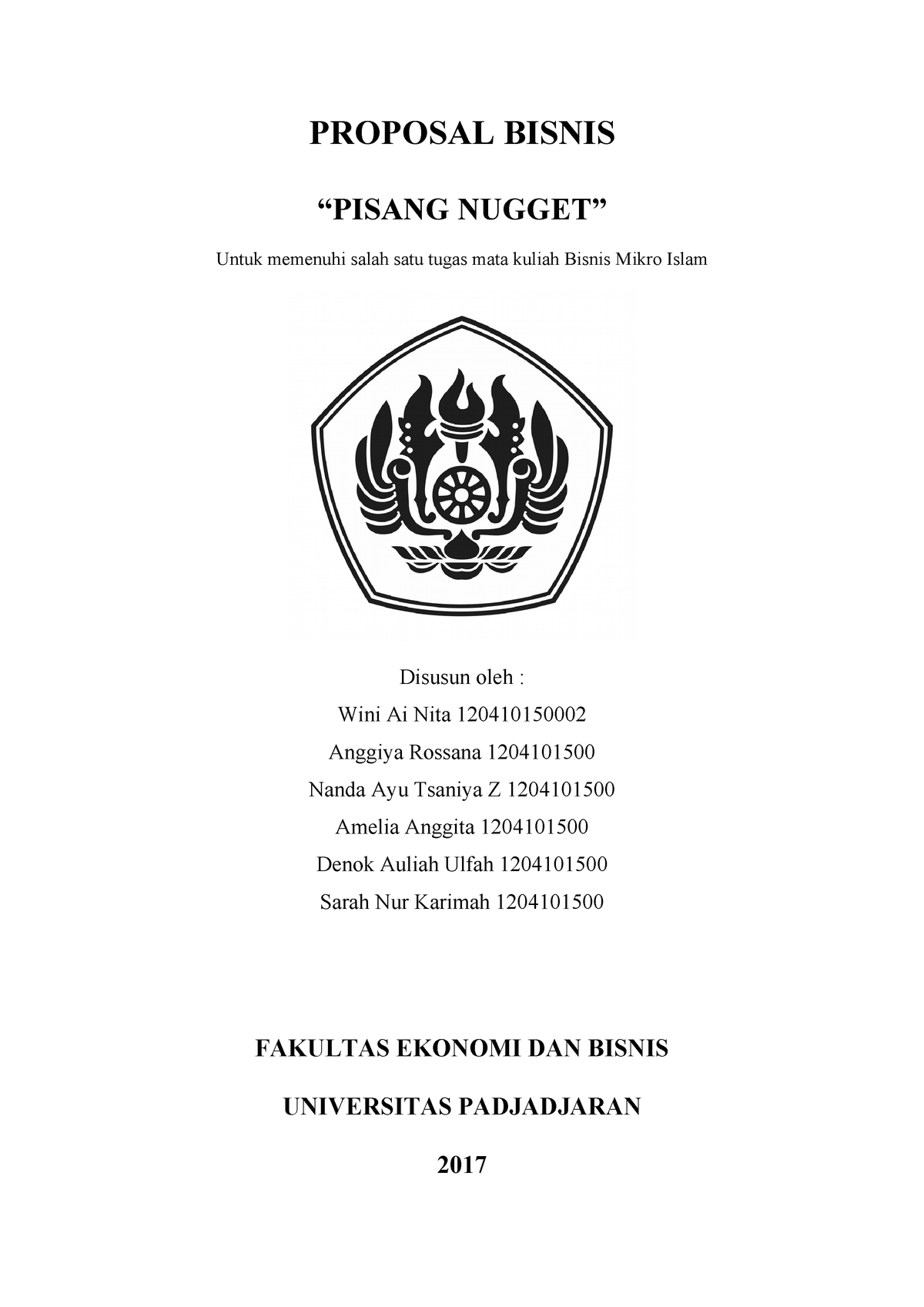 Pisang Nugget - proposal - Microeconomics - UNPAD - StuDocu