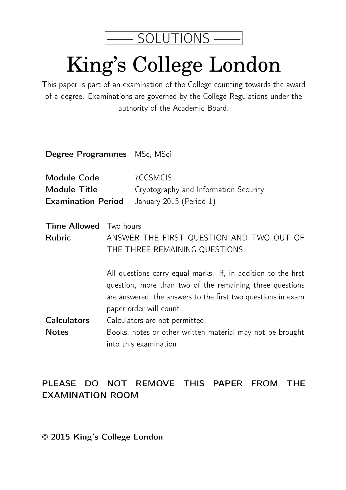 Exam 2015 - 6CCS3CIS: Cryptography and Information Security