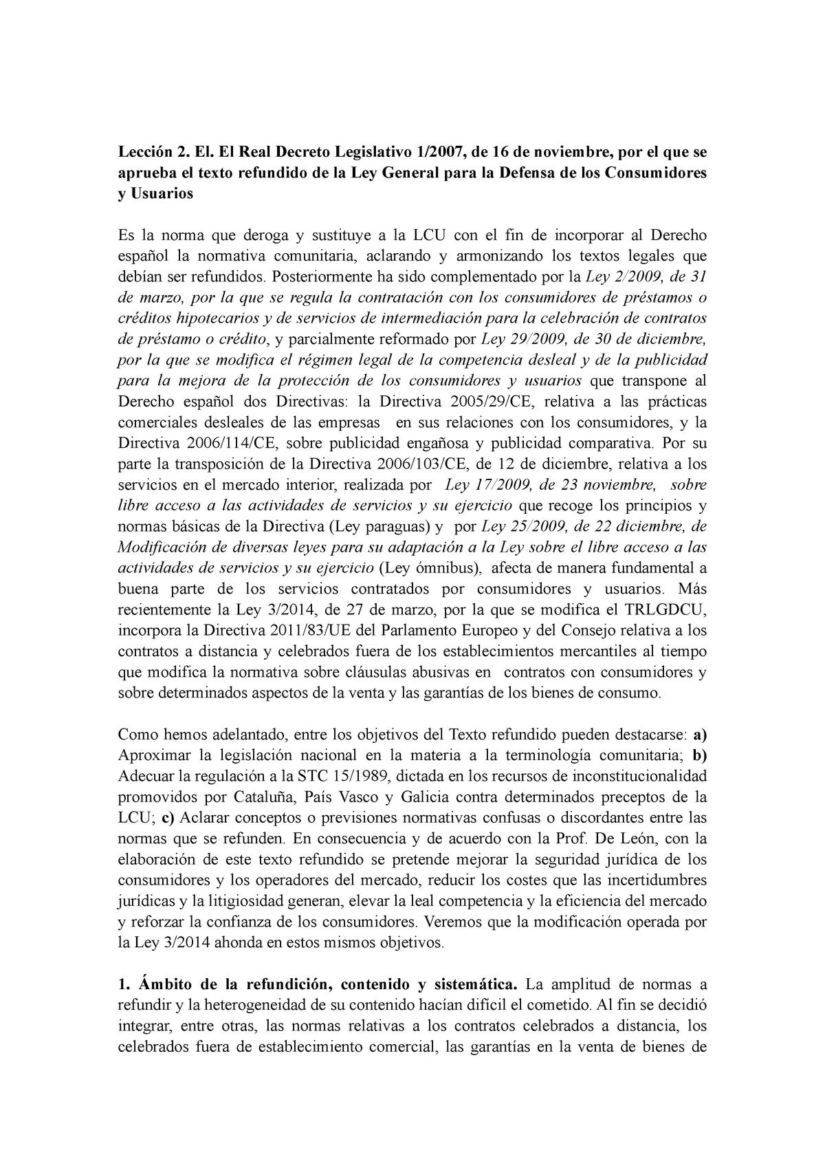 Leccion 2 Ley General Para La Defensa De Los Consumidores Lecci El El Real Decreto Legislativo 2007 De 16 De Noviembre Por El Que Se Aprueba El Texto Refundido Studocu
