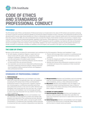 Code of Ethics and standards of Professional conduct - FINM1001