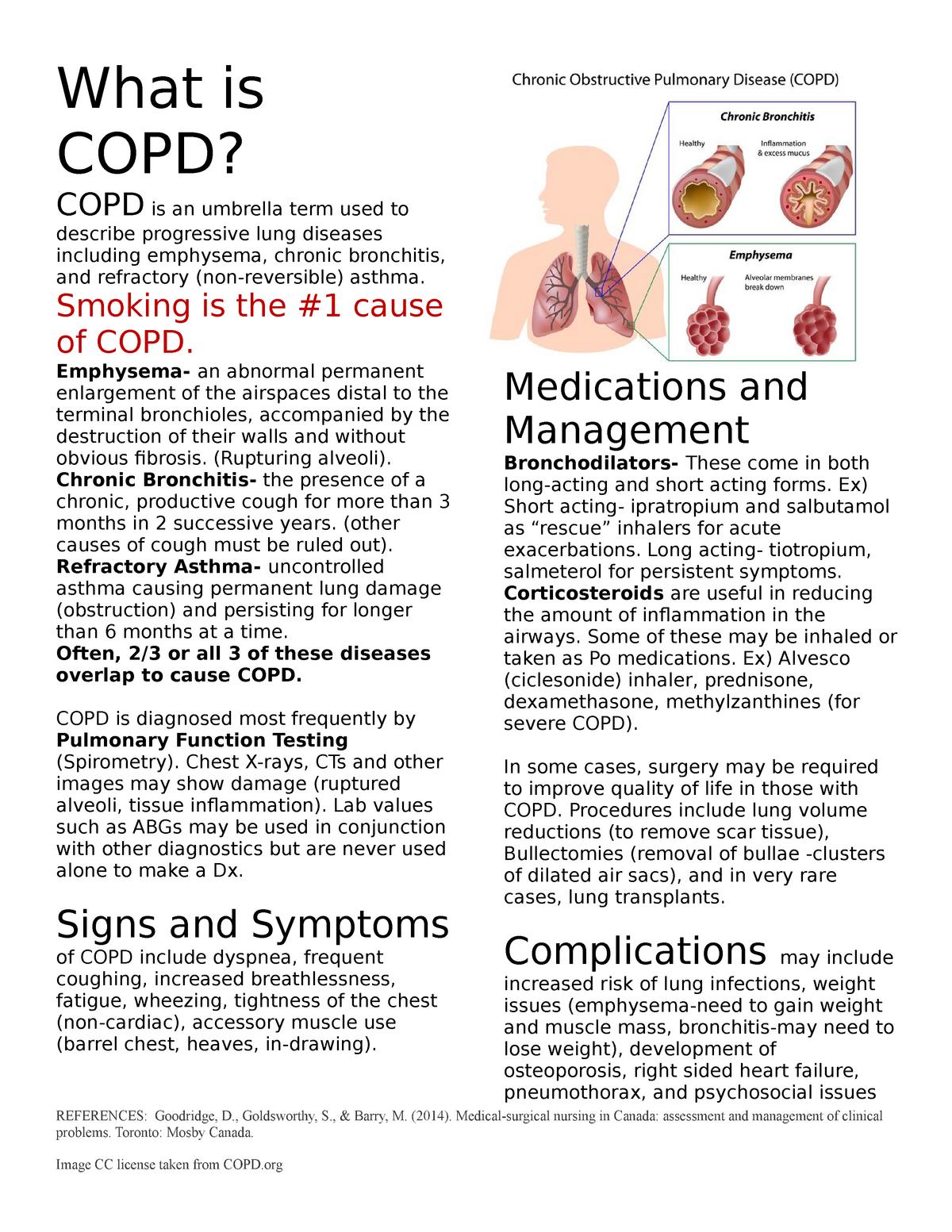COPD Fact Sheet - CNUR 206: Practice Education: Acute Care