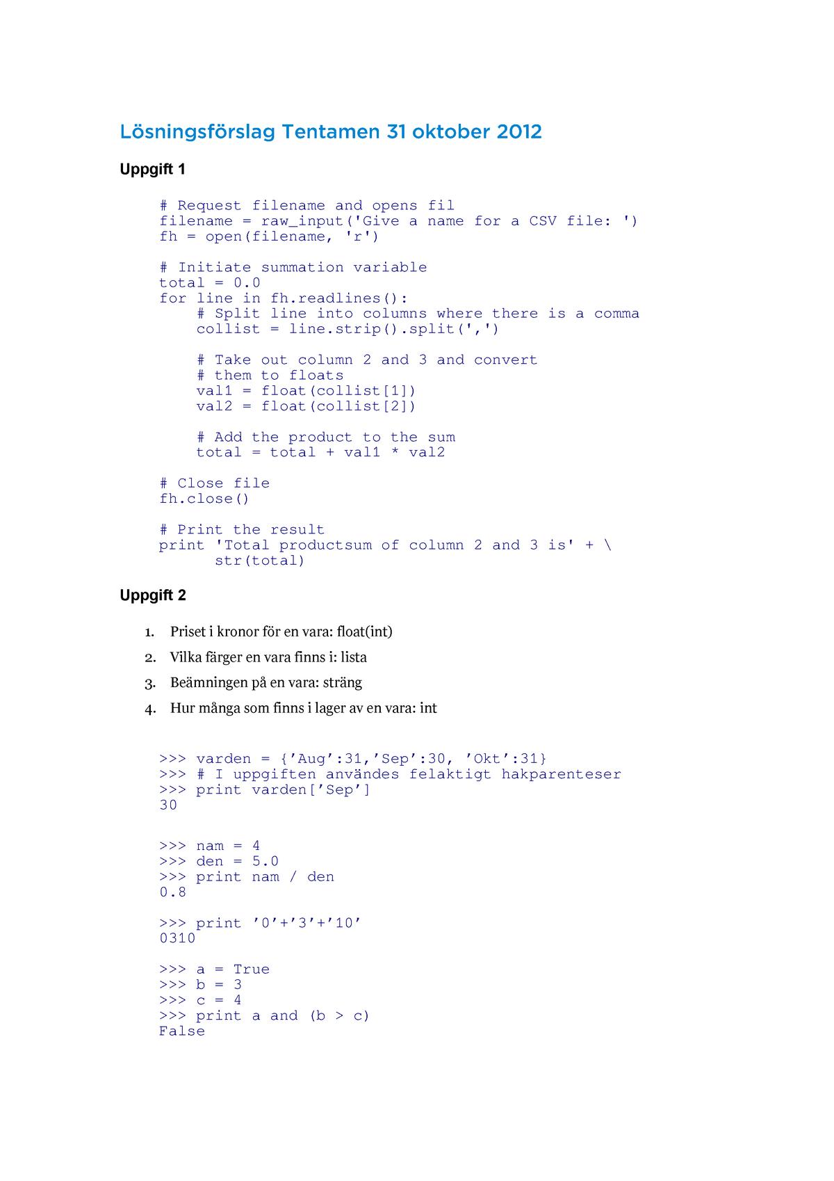 Tenta 2012 - 5DV105 :Programmeringsteknik med Python och