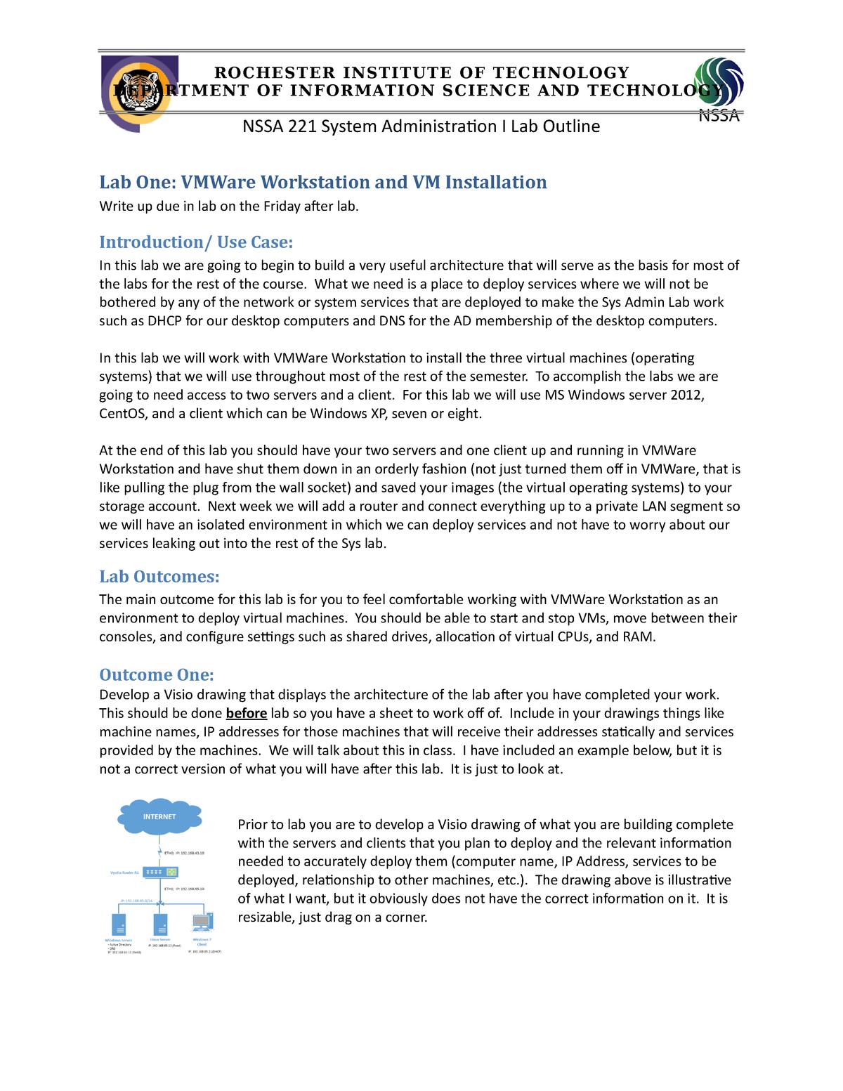 Lab 1 - 2015/2016 - 4050 421: Systems Admin I - StuDocu