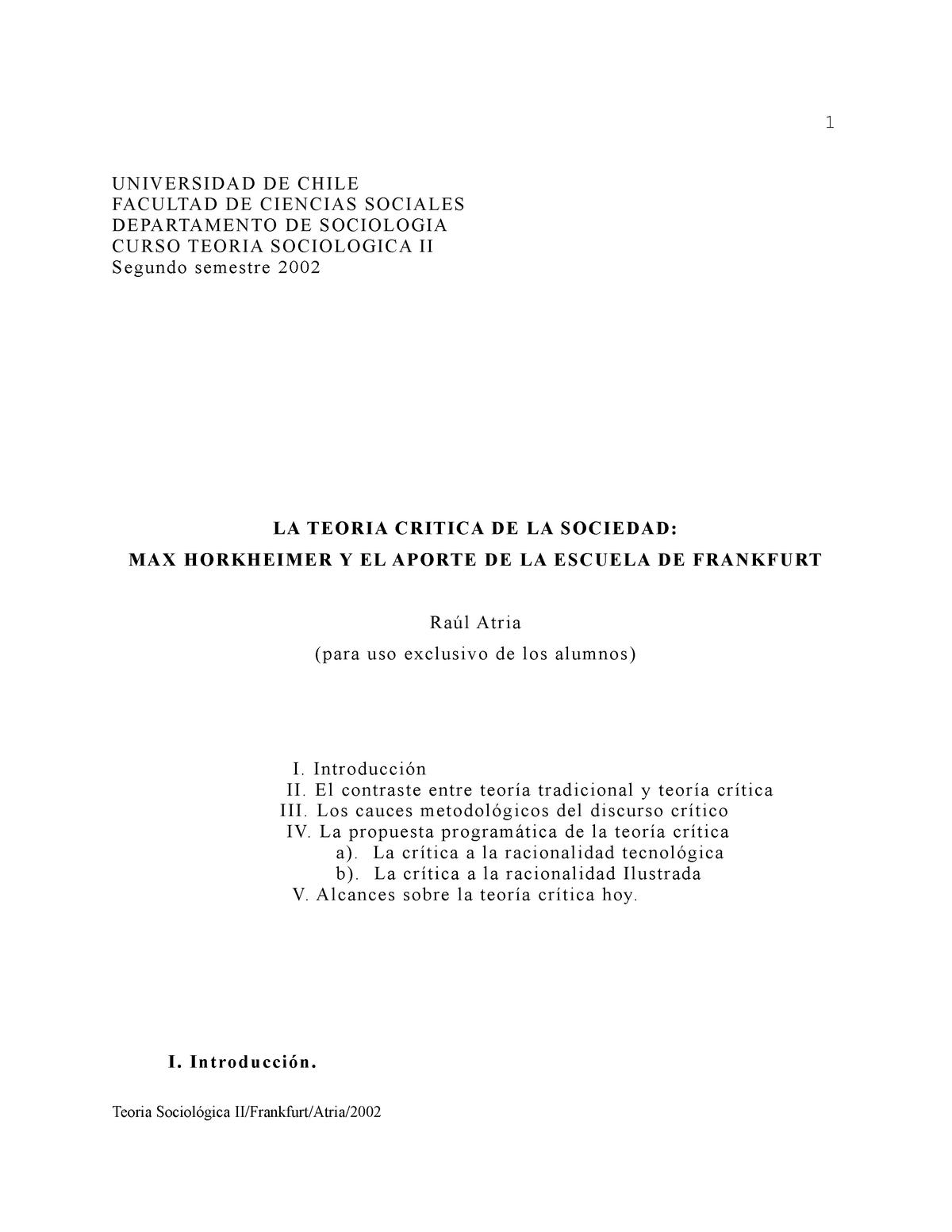 Resumen Teoría Crítica Horkheimer Escuela De Frankfurt