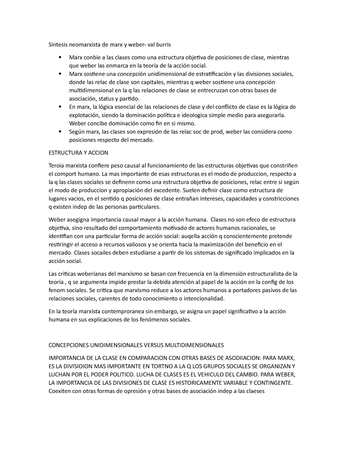 Sintesis Neomarxista De Marx Y Weber 4758 Uns Studocu