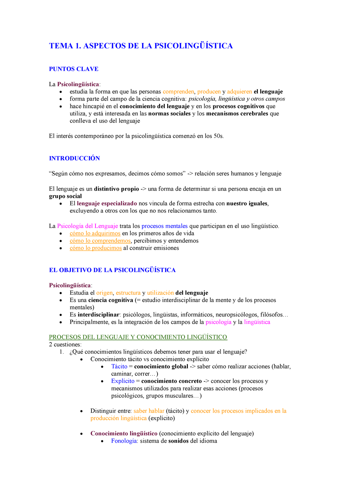 Apuntes tema 1  Aspectos de la psicolingüística - 25921