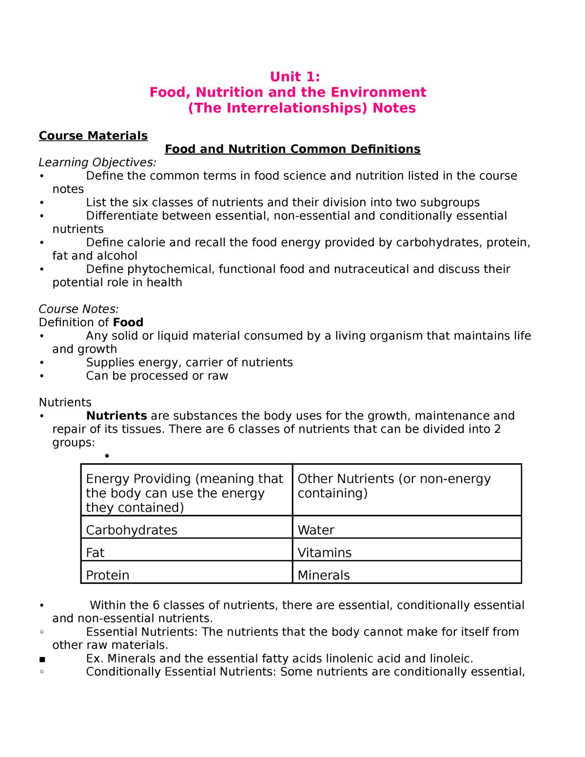 Lecture notes, lectures units 1-5 - HNSC 1200 - U of M - StuDocu
