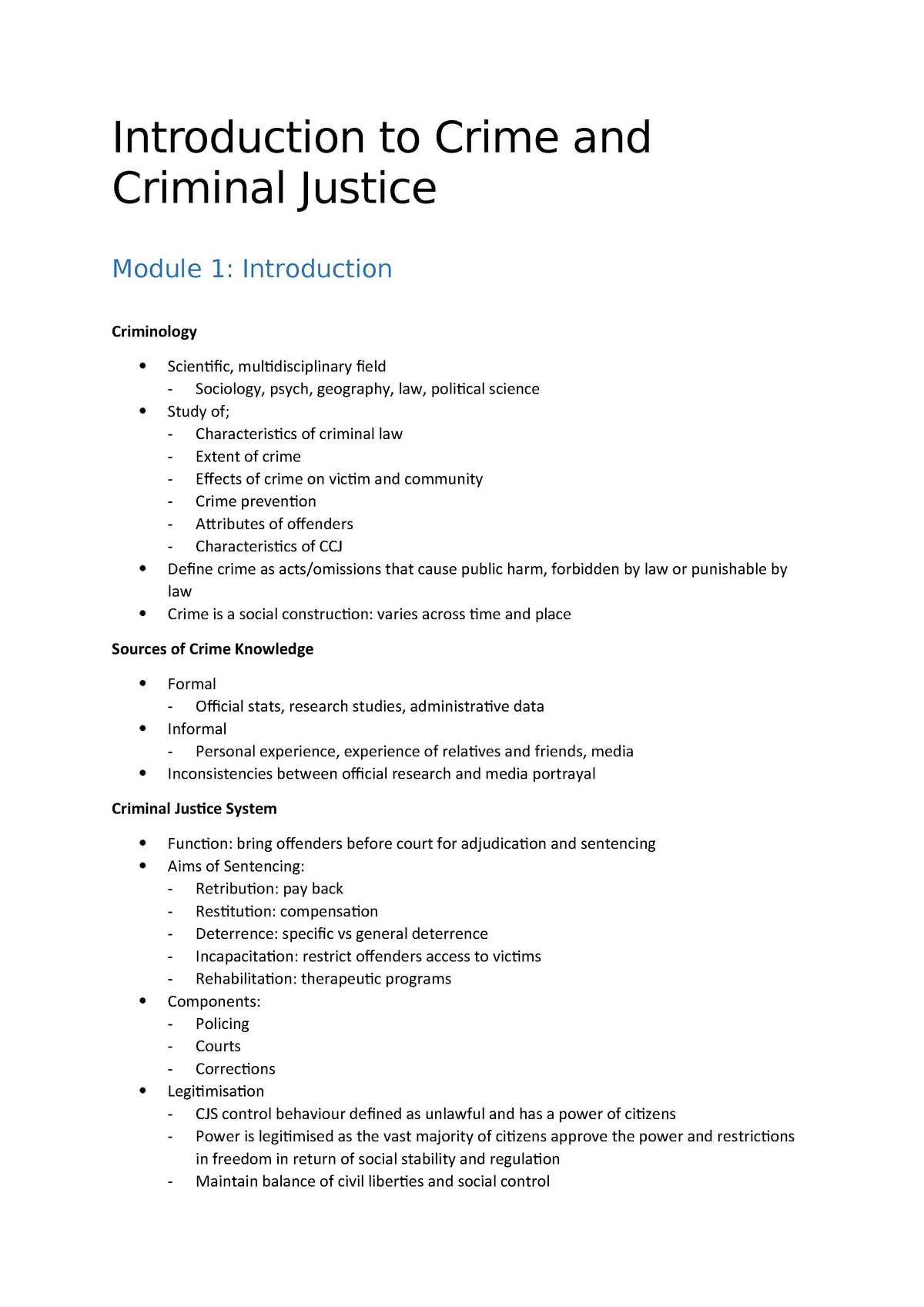 Introduction To Criminology & Criminal Justice - Lecture notes