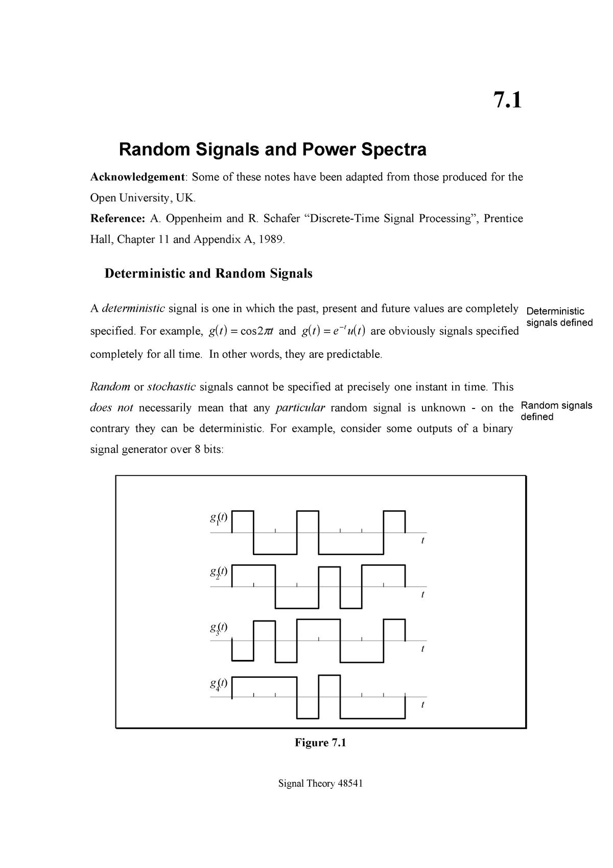 Notes 7 random signals - 048541 Signal Theory - UTS - StuDocu