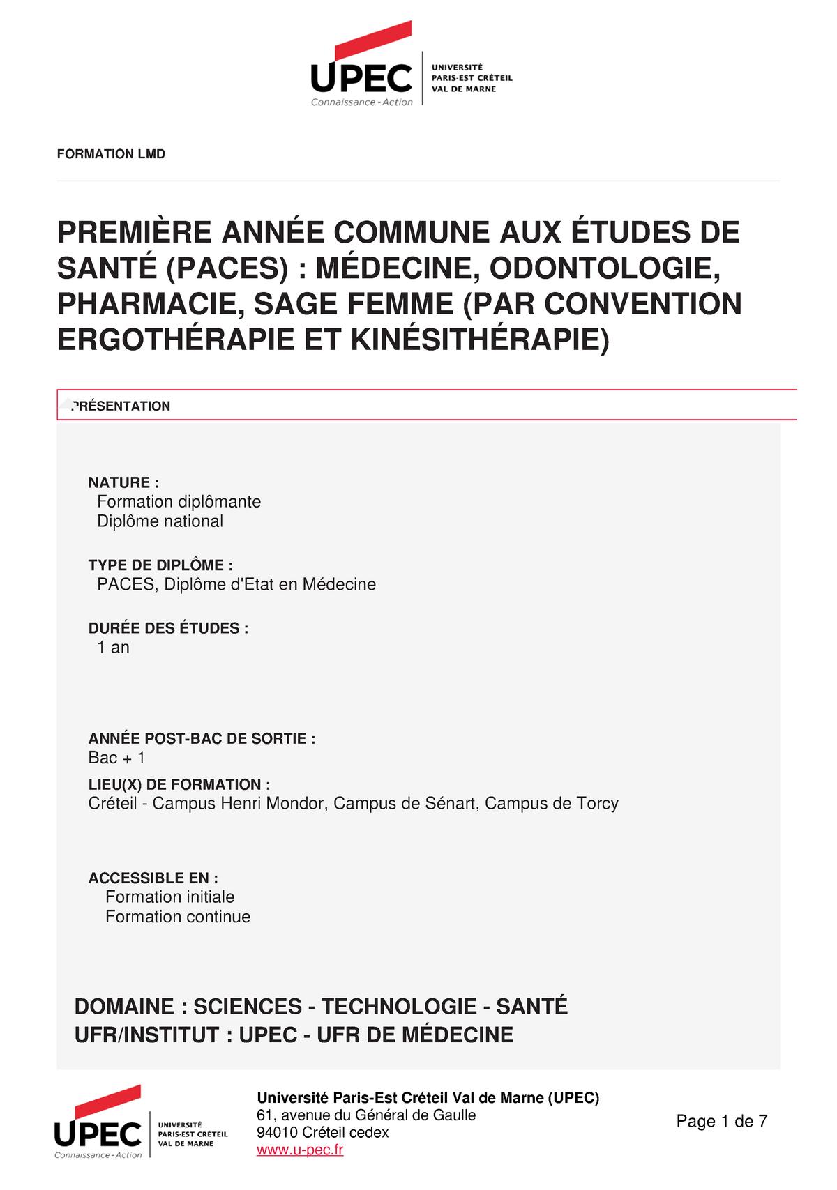 Premiere Annee Des Etudes De Sante Paes Paces Ue 1 Studocu