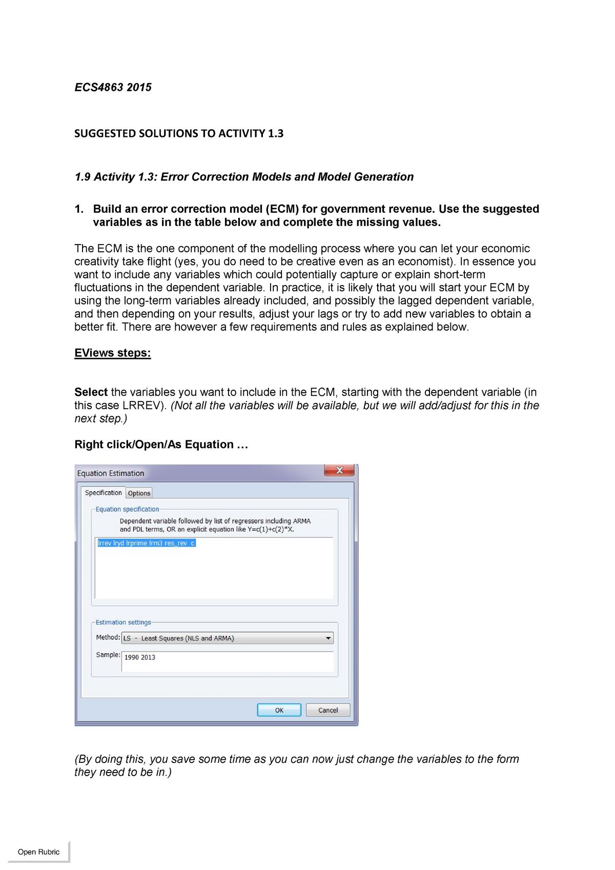 ECS4863 2015 Solutions to Activity 1 3 pdf - ECC321: Econometrics