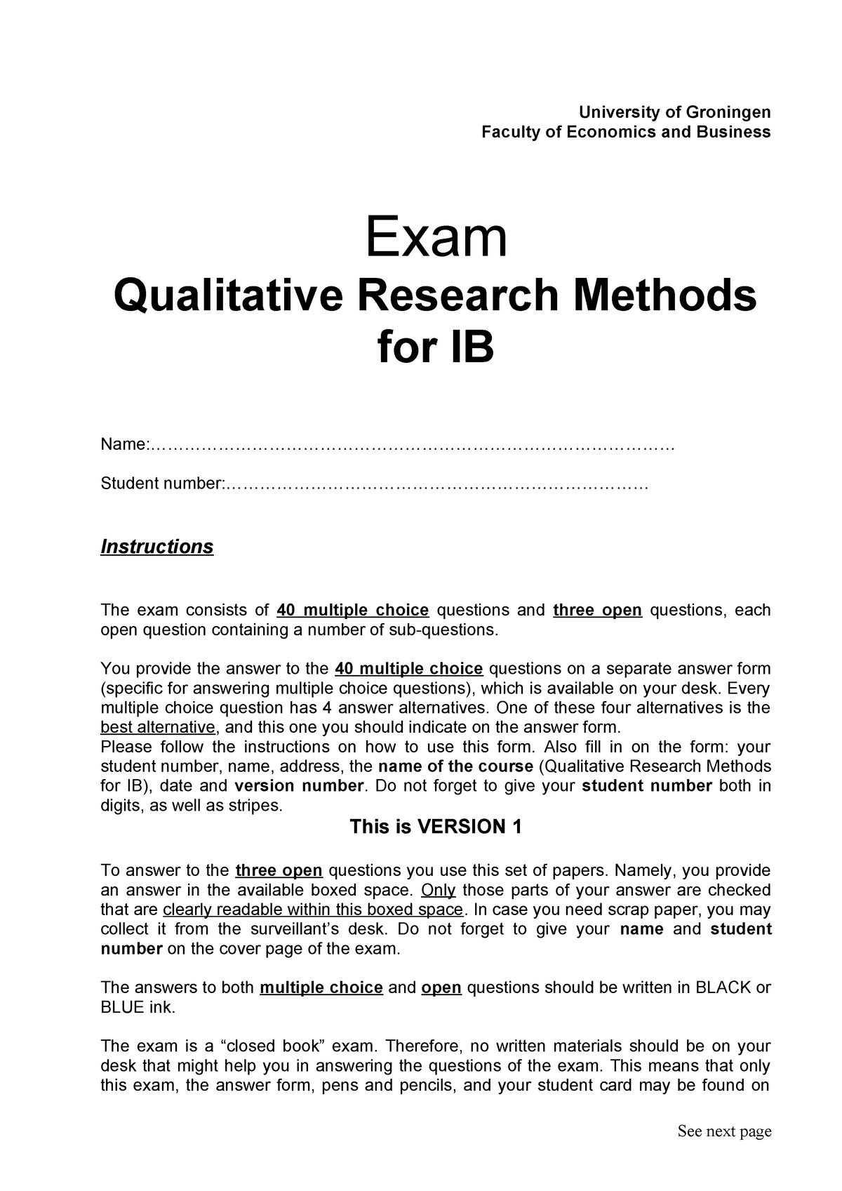 Exam March 2013, Exam Qualitative Research Methods for IB