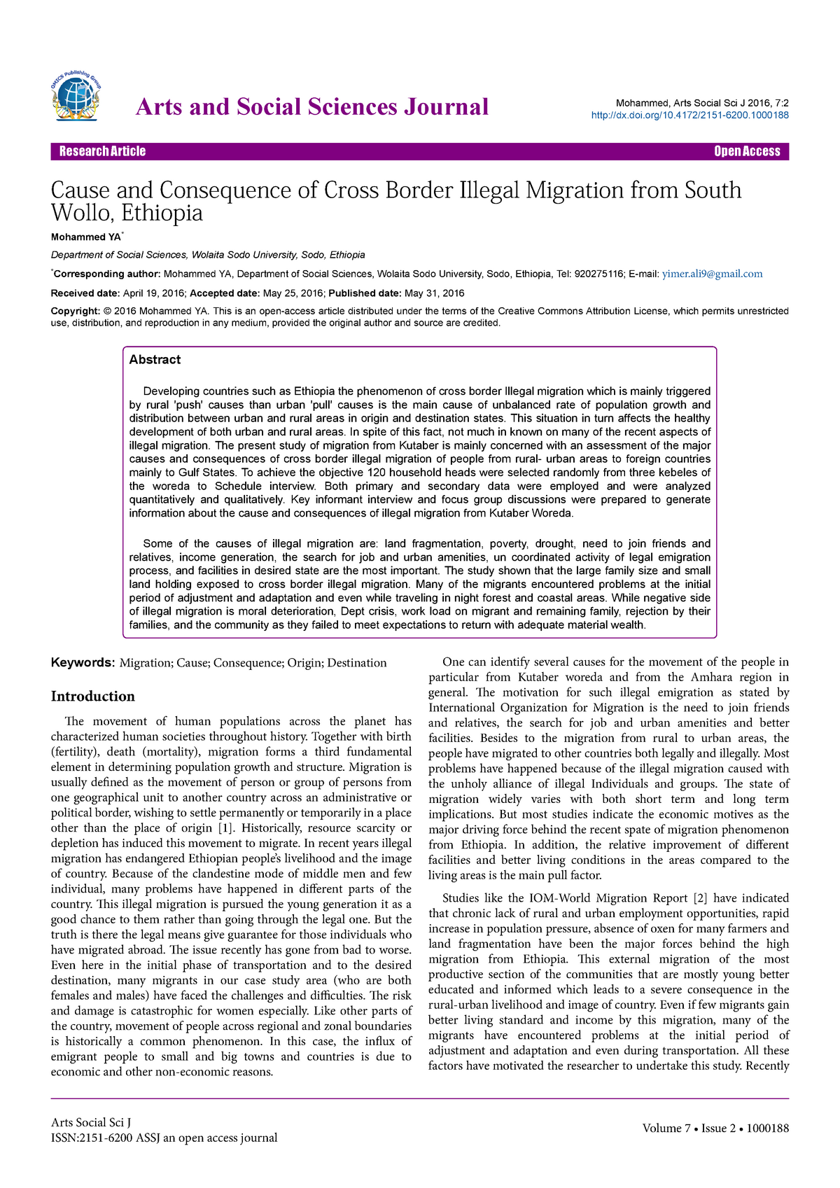 Cause and consequence of cross border illegal migration from