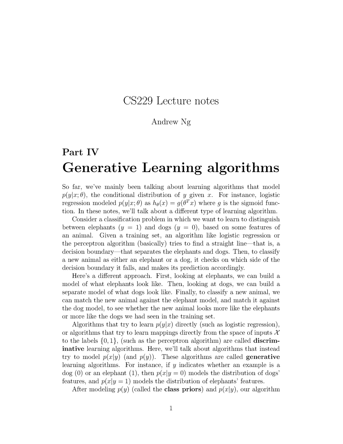 Lecture notes, lectures 1 - 5 - CS 229: Machine Learning