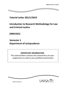 Portfolio Irm1501 2019 Tutorial Letter 201 1 2019 Introduction To Research Methodology For Law Studocu