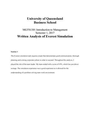 3ca7588d17 Written Analysis of Everest Simulation Title Page Final - MGTS1301:  Introduction To Management - StuDocu