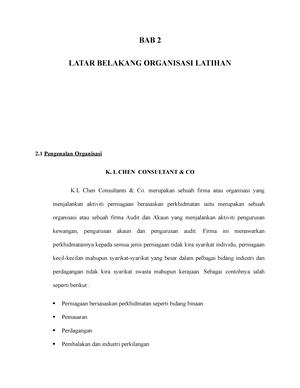 Bab 2 Latar Belakang Organisasi Ecn4901 Upm Studocu