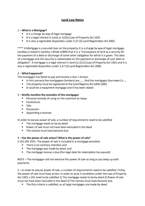 land law notes mortgages 456z0404 land law studocu